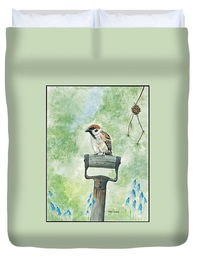 Bird Duvet Cover featuring the painting Finnish Dotted Cheek Sparrow by Mary Tuomi