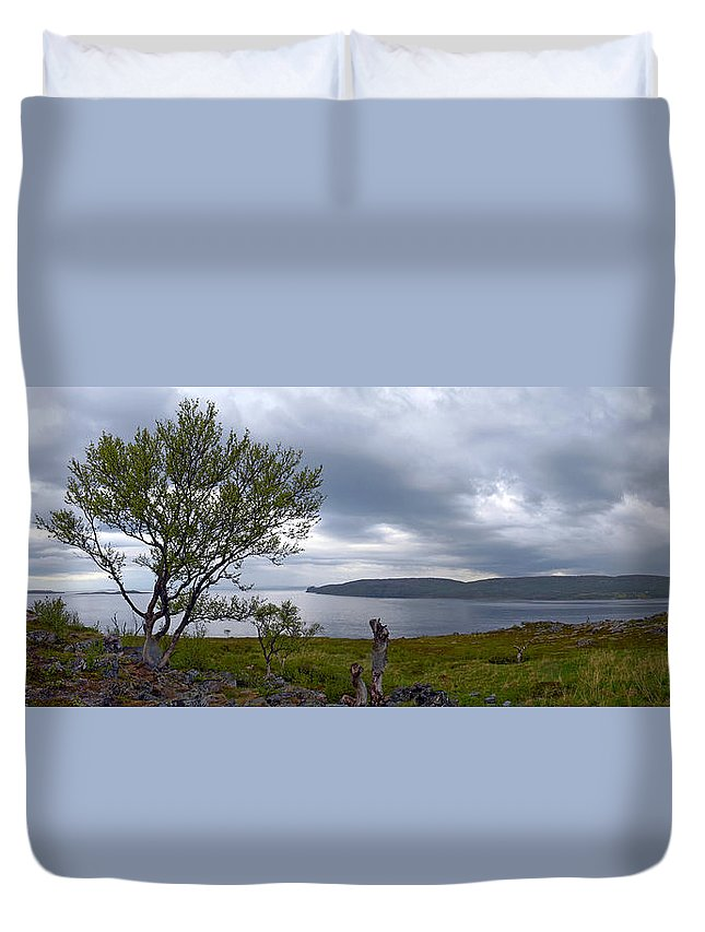 Fjord Duvet Cover featuring the photograph Finnmark Panorama by Jouko Lehto