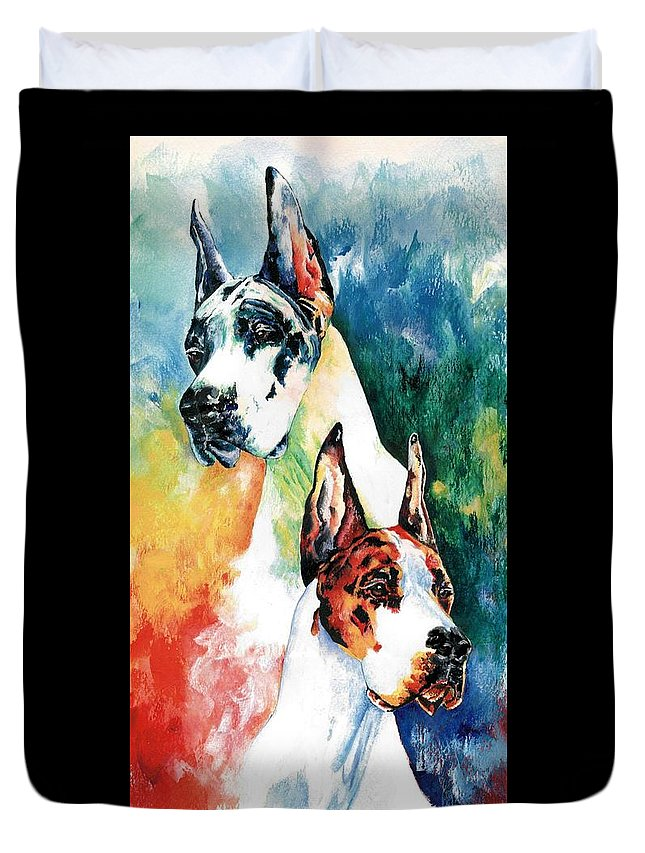 Great Dane Duvet Cover featuring the painting Fire And Ice by Kathleen Sepulveda