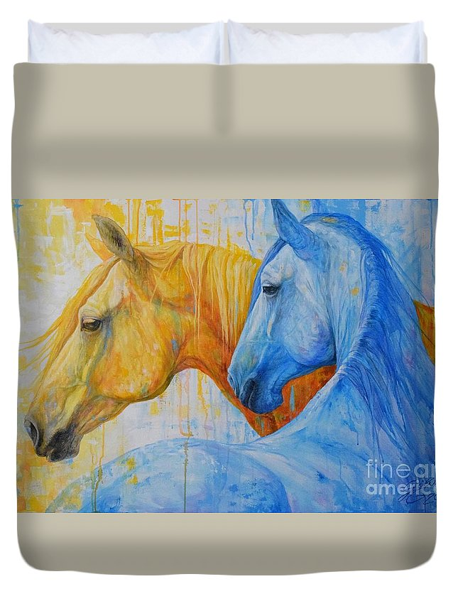 Horse Duvet Cover featuring the painting Fire And Ice by Silvana Gabudean Dobre