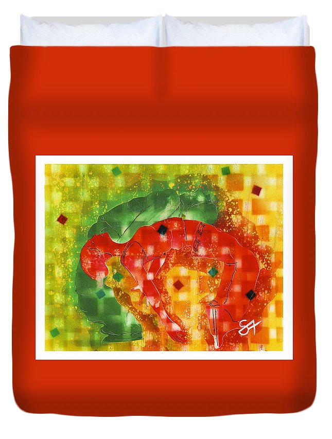 Dance Duvet Cover featuring the painting Fire by Andrea Sartori