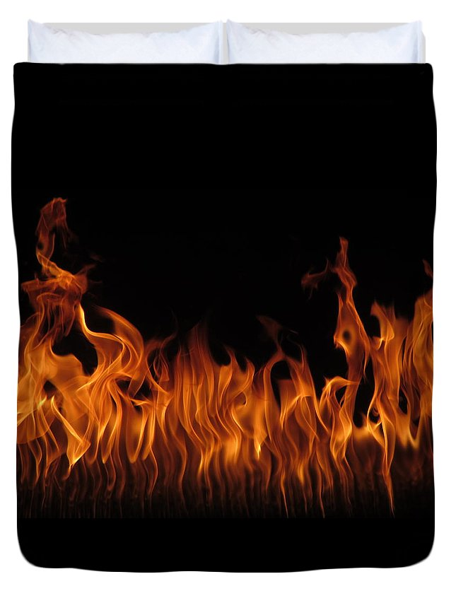 Outdoor Duvet Cover featuring the photograph Fire Dancers by Virginia Halford