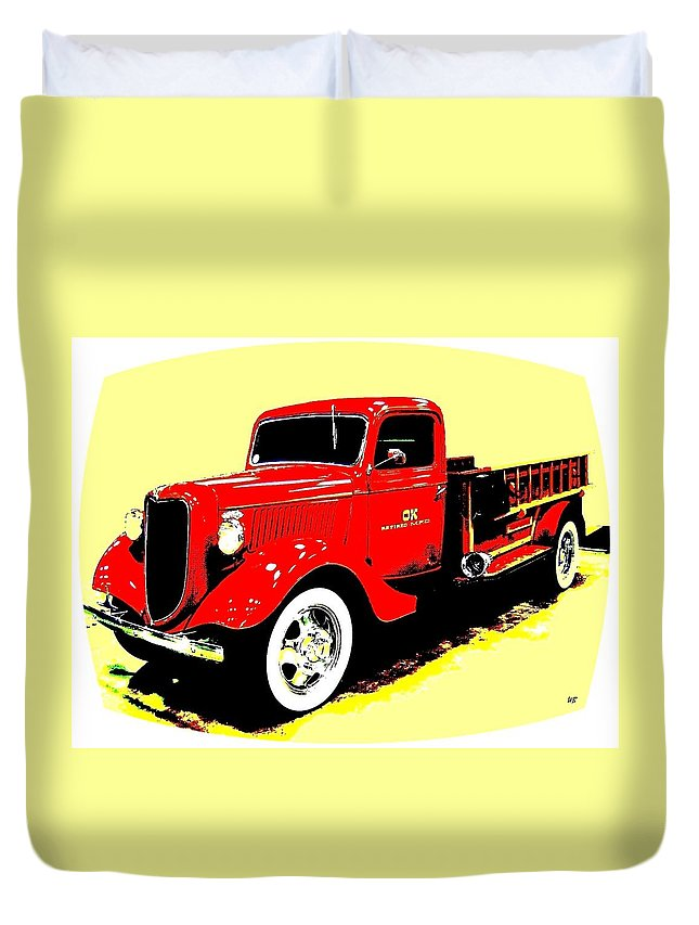 Fire Engine Duvet Cover featuring the digital art Fire Engine Ok by Will Borden