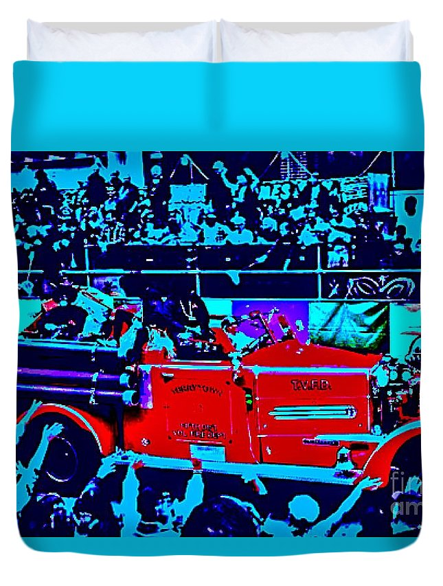 Mardi Gras Duvet Cover featuring the photograph Fire Engine Red In Blue by Paula Baker