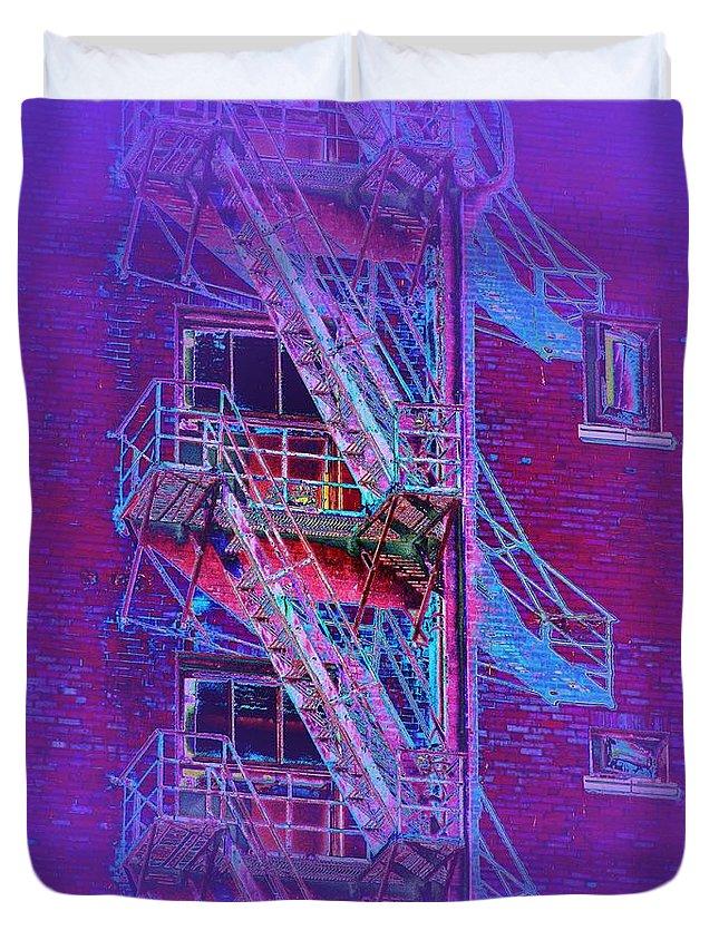 Fire Escape Duvet Cover featuring the photograph Fire Escape 4 by Tim Allen