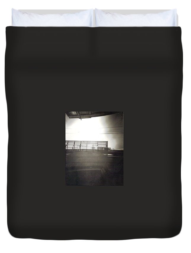 Black And White Photograph Duvet Cover featuring the photograph Fire Escape by Thomas Valentine