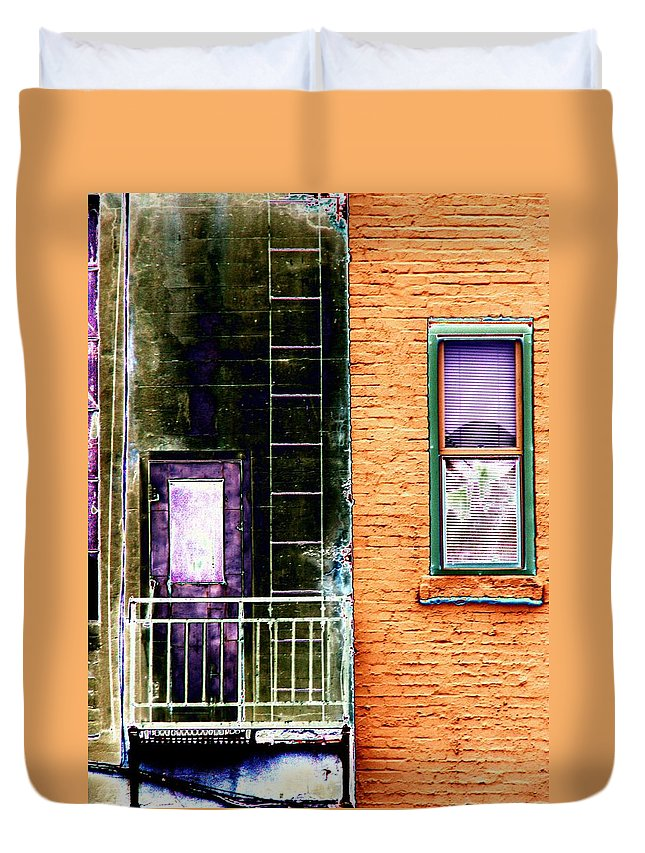 Fire Escape Duvet Cover featuring the digital art Fire Escape by Tim Allen