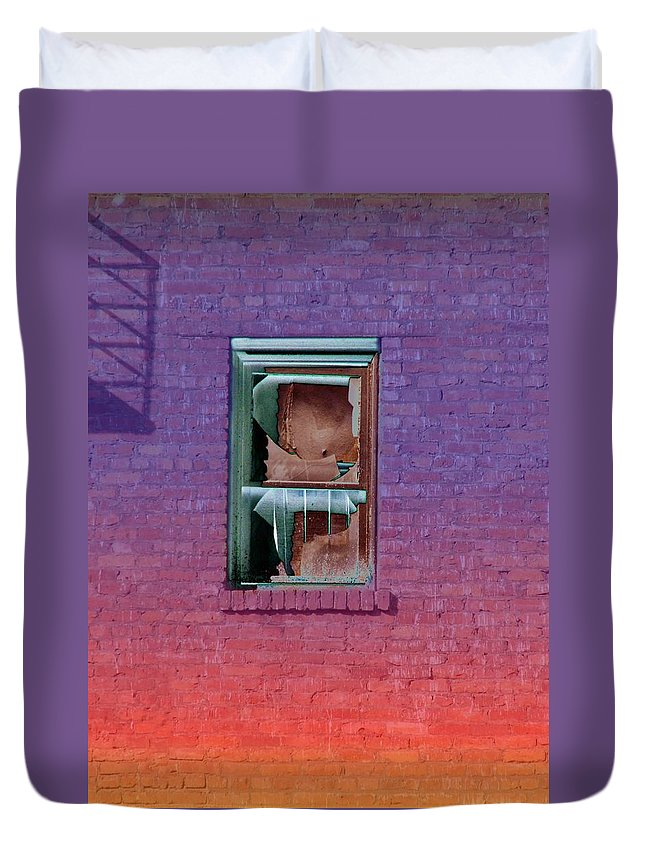Architecture Duvet Cover featuring the photograph Fire Escape Window 2 by Tim Allen