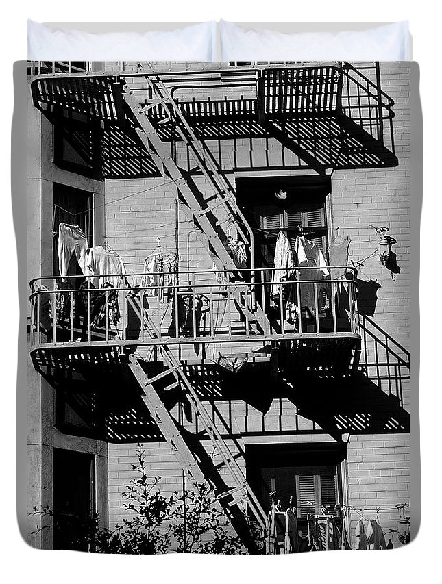 Travel Duvet Cover featuring the photograph Fire Escape With Clothes Hung To Dry by Jim Corwin