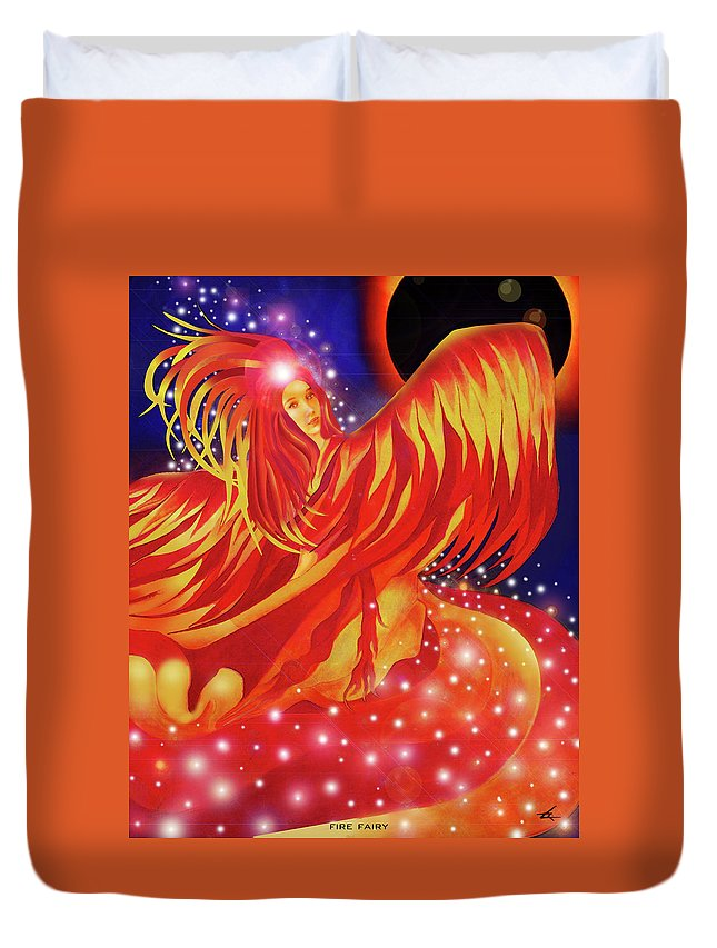 Fire Duvet Cover featuring the mixed media Fire Fairy by Larry Rice
