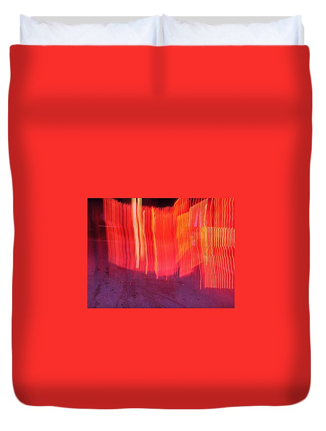 Photograph Duvet Cover featuring the photograph Fire Fence by Thomas Valentine