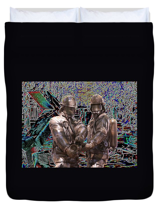 Fire Fighter Duvet Cover featuring the photograph Fire Fighters Memorial Seattle by Tim Allen