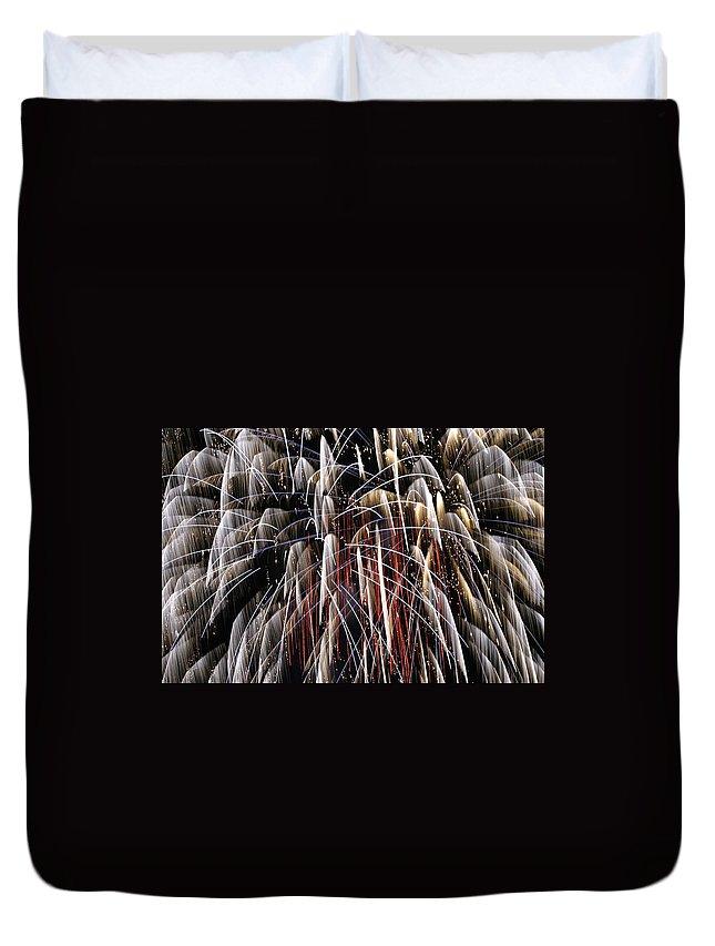 Fire Duvet Cover featuring the digital art Fire Fountain by Gary Baird