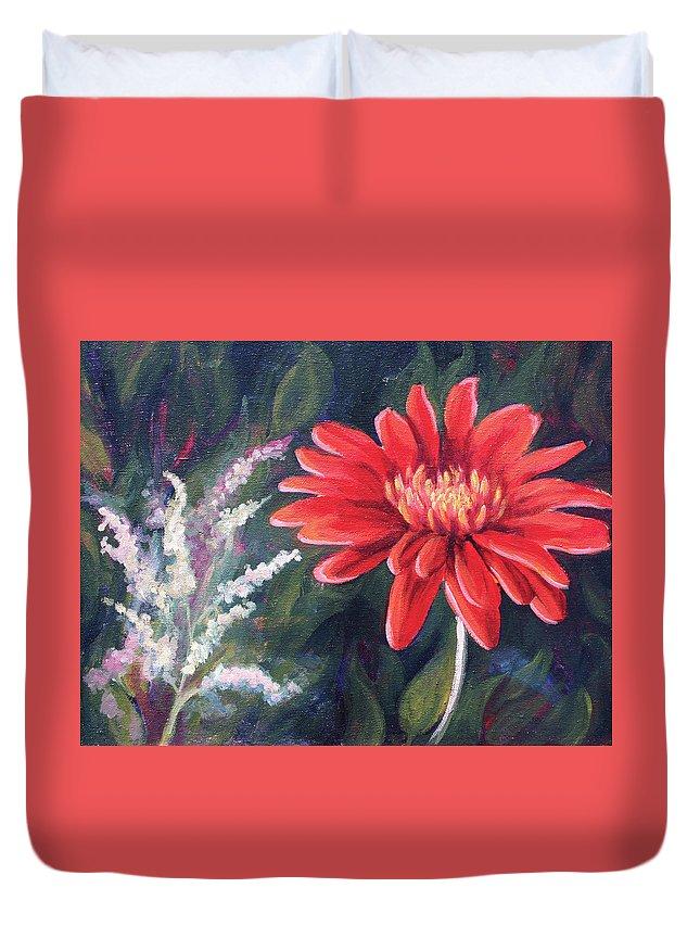 Fire Gerbera Duvet Cover featuring the painting Fire Gerbera by Jennifer McDuffie