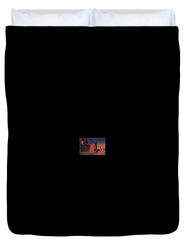 Fire Ball Basketball Shot Hops The City Urban Flame Burning Lessons Test Best Excellent Leader Role Model Athlete Sports Game Name Duvet Cover featuring the mixed media Fire Hopps by Dana McCarroll