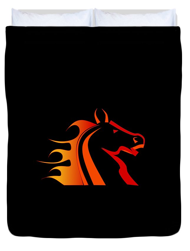 Horse Duvet Cover featuring the digital art Fire Horse by Scott Davis