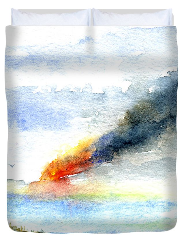 Fire Duvet Cover featuring the painting Fire in the Mountains by John D Benson