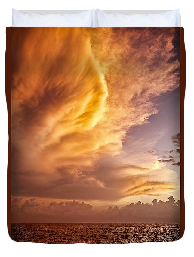 Jamaica Duvet Cover featuring the photograph Fire In The Sky by Dave Bowman