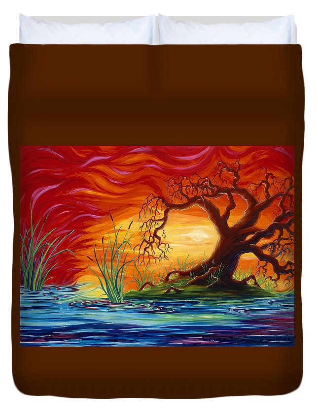 Tree Duvet Cover featuring the painting Fire in the Sky by Jennifer McDuffie