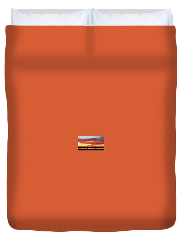 Sunset Duvet Cover featuring the digital art Fire In The Sky by Jim Ferro