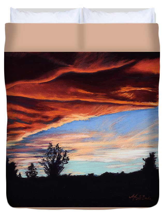 Sunset Duvet Cover featuring the painting Fire In The Sky by Mary Benke