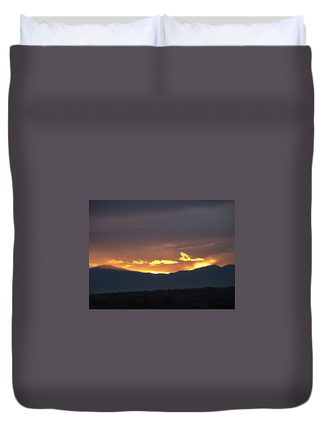 Sunset Duvet Cover featuring the photograph Fire In The Sky by Shari Chavira