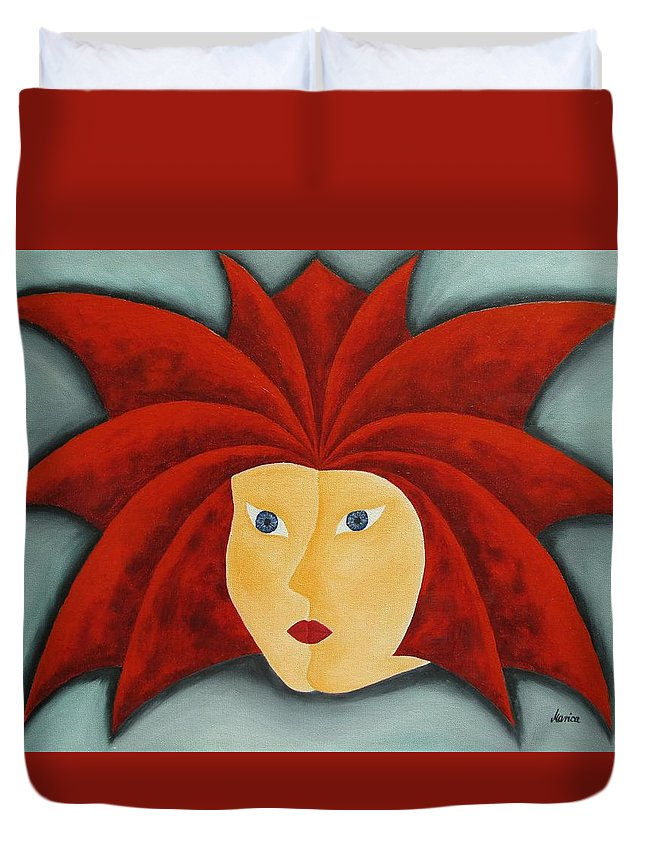 Fire Inside Me Duvet Cover featuring the painting Fire Inside Me by Marianna Mills