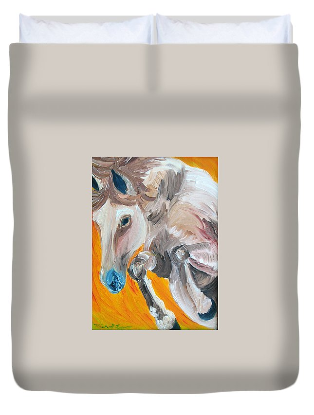 Horses Duvet Cover featuring the painting Fire Jumper by Michael Lee
