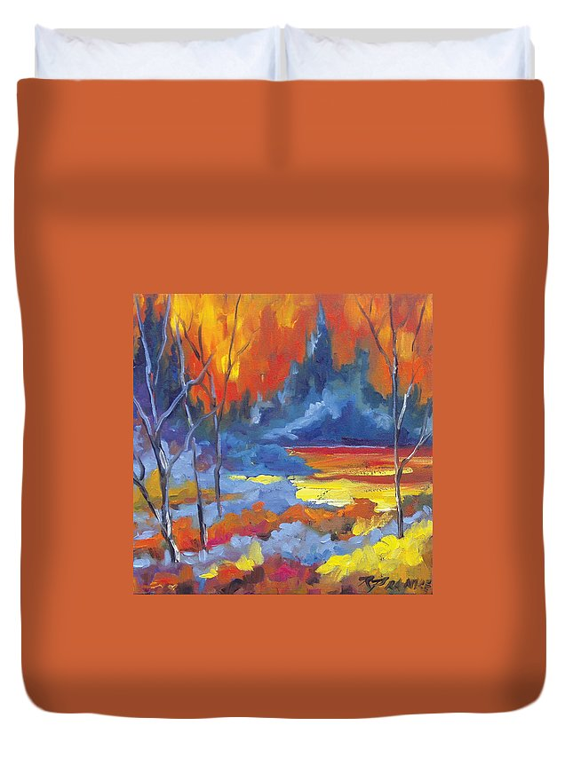 Art Duvet Cover featuring the painting Fire Lake by Richard T Pranke