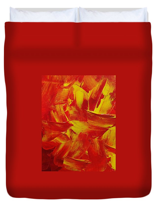 Fire Duvet Cover featuring the painting Fire by Leena Kewlani