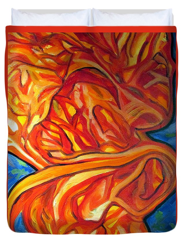 Abstract Duvet Cover featuring the painting Fire, No Ice by Steven Miller