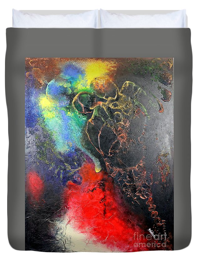 Valentine Duvet Cover featuring the painting Fire Of Passion by Farzali Babekhan