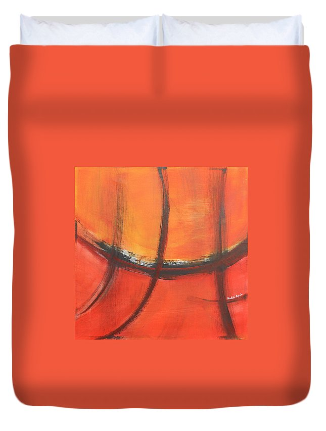 Abstract Duvet Cover featuring the painting Fire Red by Habib Ayat