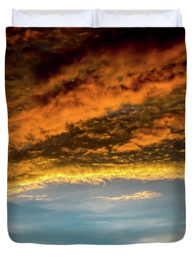 Sky Duvet Cover featuring the photograph Fire Sky by Marco Zottich