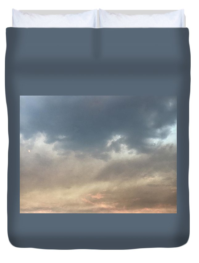 Sky Duvet Cover featuring the photograph Fire Sky Sunset With Moon by Lorie Stevens
