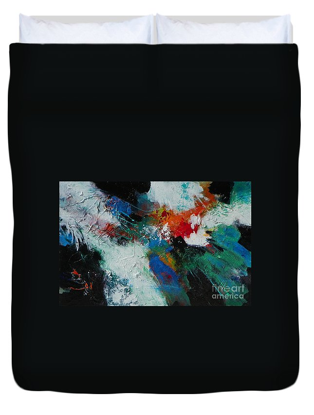 Abstract Expressionism Duvet Cover featuring the painting Fire Song 002 by Donna Frost