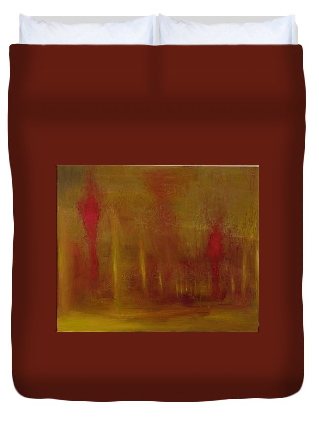 Duvet Cover featuring the painting Fire by Spencer Kowalski