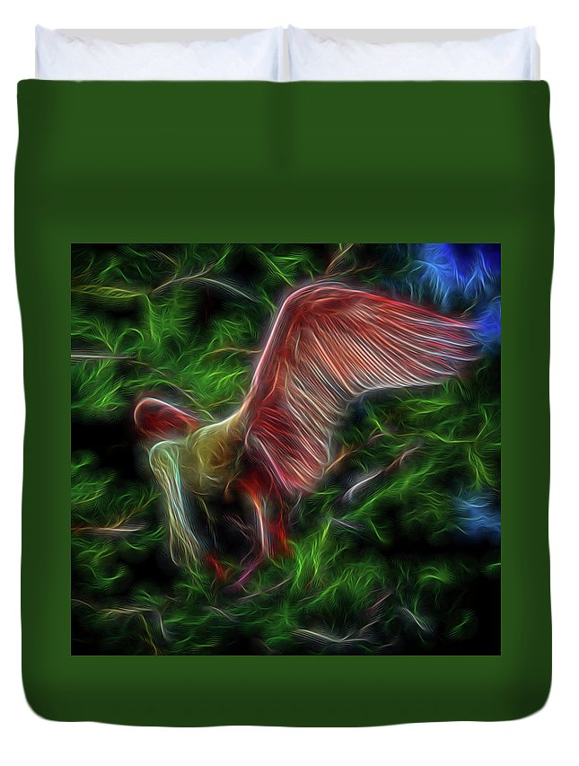 Abstract Duvet Cover featuring the digital art Fire Spirit 2 by William Horden