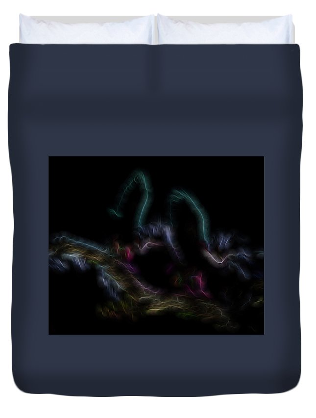 Abstract Duvet Cover featuring the digital art Fire Spirits 4 by William Horden