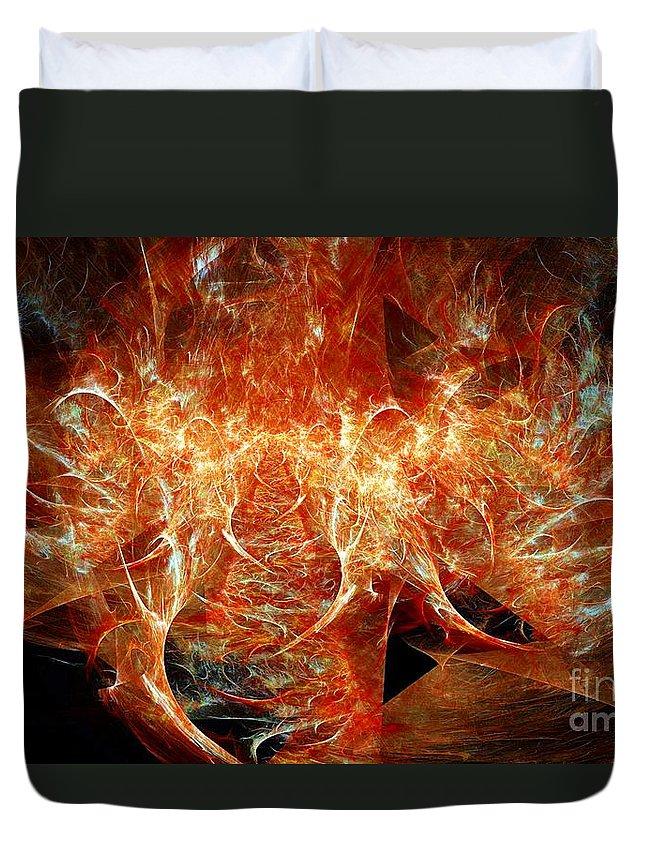 Fractal Duvet Cover featuring the digital art Fire Storm by Ron Bissett