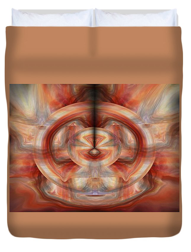 Abstract Art Duvet Cover featuring the digital art Fire Wheel by Linda Sannuti