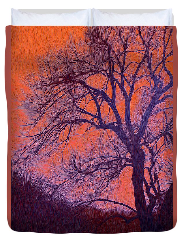 Tree Duvet Cover featuring the photograph Fire Willow by Mykel Davis