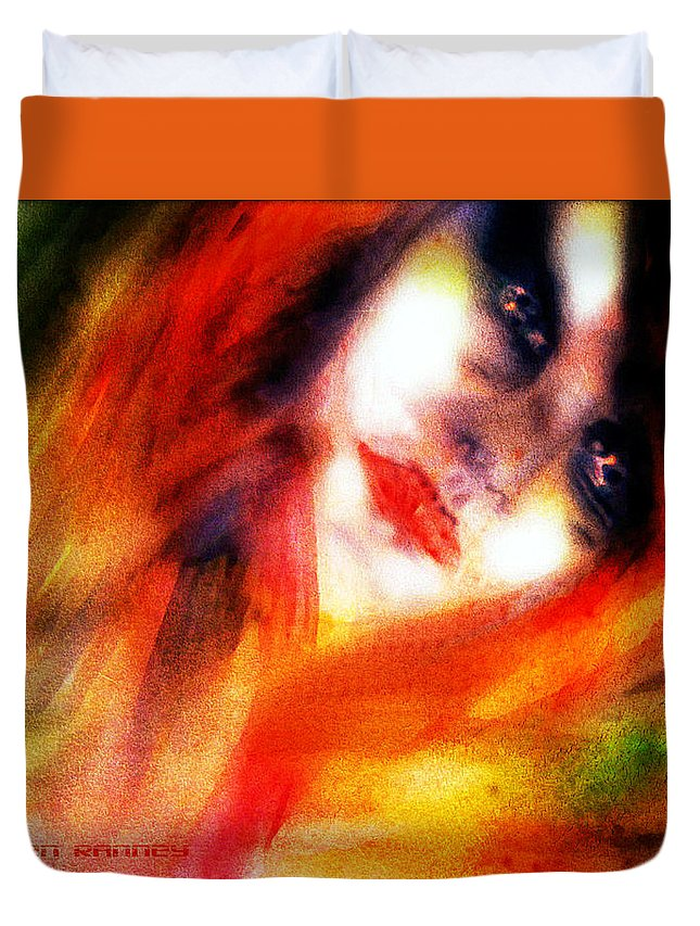 Water Colour Duvet Cover featuring the painting Fire Woman by Colleen Ranney