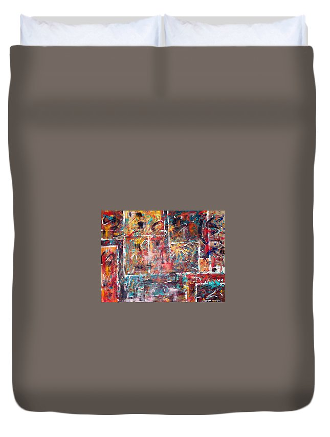 Acrylic Panting Duvet Cover featuring the painting Fire Works by Yael VanGruber