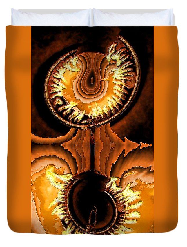 Collage Duvet Cover featuring the digital art Fired Up by Ron Bissett