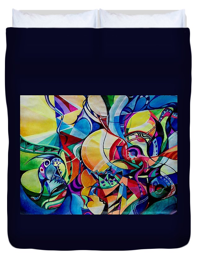 Emil Chakalov Firefly Gypsy Swing Acrylic Abstract Pens Paper Duvet Cover featuring the painting Firefly by Wolfgang Schweizer