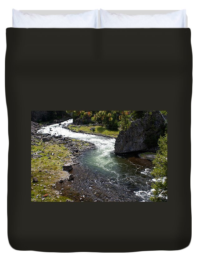 Yellowstone National Park. Firehole River Duvet Cover featuring the photograph Firehole Bend by Marty Koch