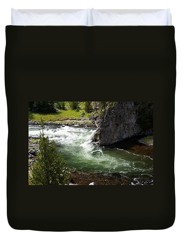 Yellowstone National Park Duvet Cover featuring the photograph Firehole Canyon 1 by Marty Koch