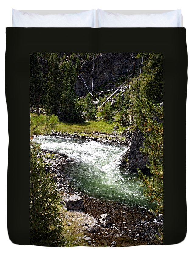 Yellowstone National Park Duvet Cover featuring the photograph Firehole Canyon 2 by Marty Koch
