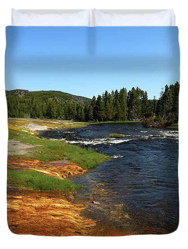 Park Duvet Cover featuring the photograph Firehole River Colors by Christiane Schulze Art And Photography